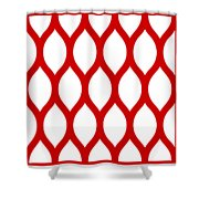 Simplified Latticework With Border In Red Shower Curtain