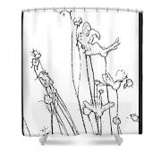 Simplistic Flower Sketch Shower Curtain
