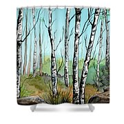 Simply Birches Shower Curtain