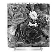 Simply Flowers 1 Black And White Shower Curtain