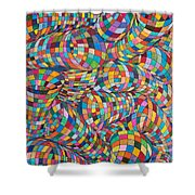 Simply Red - Euclidian Curvatures Shower Curtain