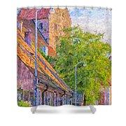 Simrishamn Street Scene Digital Painting Shower Curtain