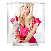 Sincere Woman Saying Thank You With Flower Shower Curtain