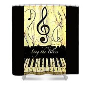 Sing The Blues Yellow Shower Curtain