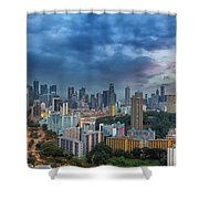 Singapore Cityscape At Sunset Shower Curtain