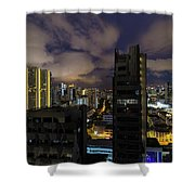 Singapore Cityscape On A Cloudy Night Shower Curtain