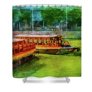 Singapore River Boats Shower Curtain