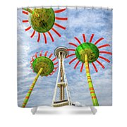 Singing Flowers Under The Space Needle Shower Curtain