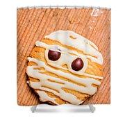 Single Homemade Mummy Cookie For Halloween Shower Curtain