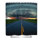 Single Lane Road Leading To Storm Cloud Shower Curtain