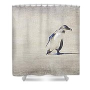Single Penguin In Deep Thought Shower Curtain