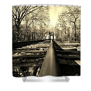 Single Track Mind - Sepia Shower Curtain