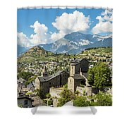 Sion Old Town In Switzerland Shower Curtain