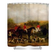 Sir Edmund Antrobus And The Old Surrey Fox Hounds At The Foot Of Shower Curtain