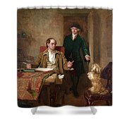Sir Joshua Reynolds Visiting Goldsmith In His Study Shower Curtain