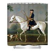 Sir Roger Burgoyne Riding 'badger' Shower Curtain