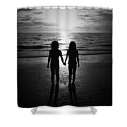 Sisters In Black And White Shower Curtain