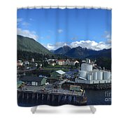 Sitka From The Waterfront Showing The Three Sisters In The Back 2015 Shower Curtain