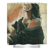 Sitted Woman Shower Curtain