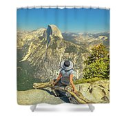 sitting at Glacier Point Shower Curtain