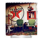 Sitting At The Texaco Shower Curtain