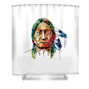 Sitting Bull Watercolor Painting Shower Curtain