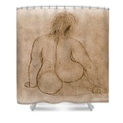 Sitting Fat Nude Woman Shower Curtain
