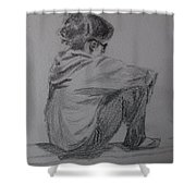 Sitting Girl Shower Curtain
