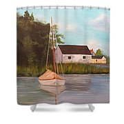 Sitting In Still Waters Shower Curtain