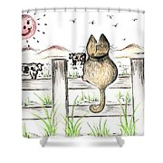 Sitting Watching Cows In The Meadow Shower Curtain