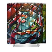 Sitting Woman Fixed In Motion Shower Curtain