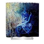 Sitting Young Girl Shower Curtain