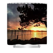 Siuslaw River Autumn Sunset Shower Curtain