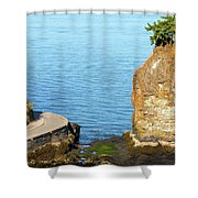 Siwash Rock By Stanley Park Seawall Shower Curtain
