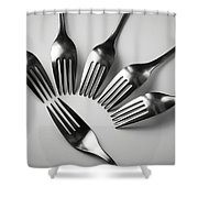 Six Forks Abstract Composition Shower Curtain