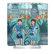 Six Of Cups Illustrated Shower Curtain