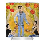 Six Of Pentacles Illustrated Shower Curtain