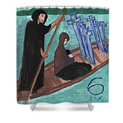 Six Of Swords Illustrated Shower Curtain