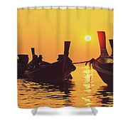 Six Thai Wooden Boats Floating And Glittering In The Lagoon During Golden Sunset Koh  Shower Curtain