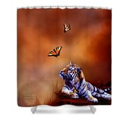 Six Wild Tigers Shower Curtain