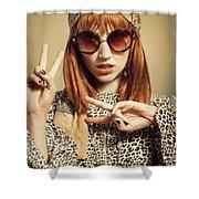 Sixties Retro Fashion Shower Curtain