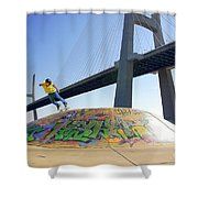 Skate Under Bridge Shower Curtain by Carlos Caetano