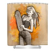 Skateboard Pin-up Illustration Shower Curtain