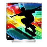 Skateboarder In Criss Cross Lightning Shower Curtain by Elaine Plesser