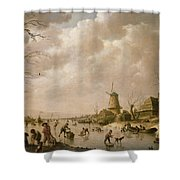 Skaters On A Frozen Canal Shower Curtain by Hendrik Willem Schweickardt