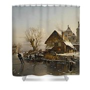 Skaters On The Canal Shower Curtain