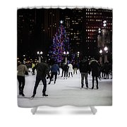 Skating By The Tree Shower Curtain