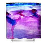 Skating Couple Abstract 2 Shower Curtain