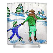 Skating With Mom Shower Curtain