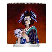 Skeletal Geisha With Mask Shower Curtain